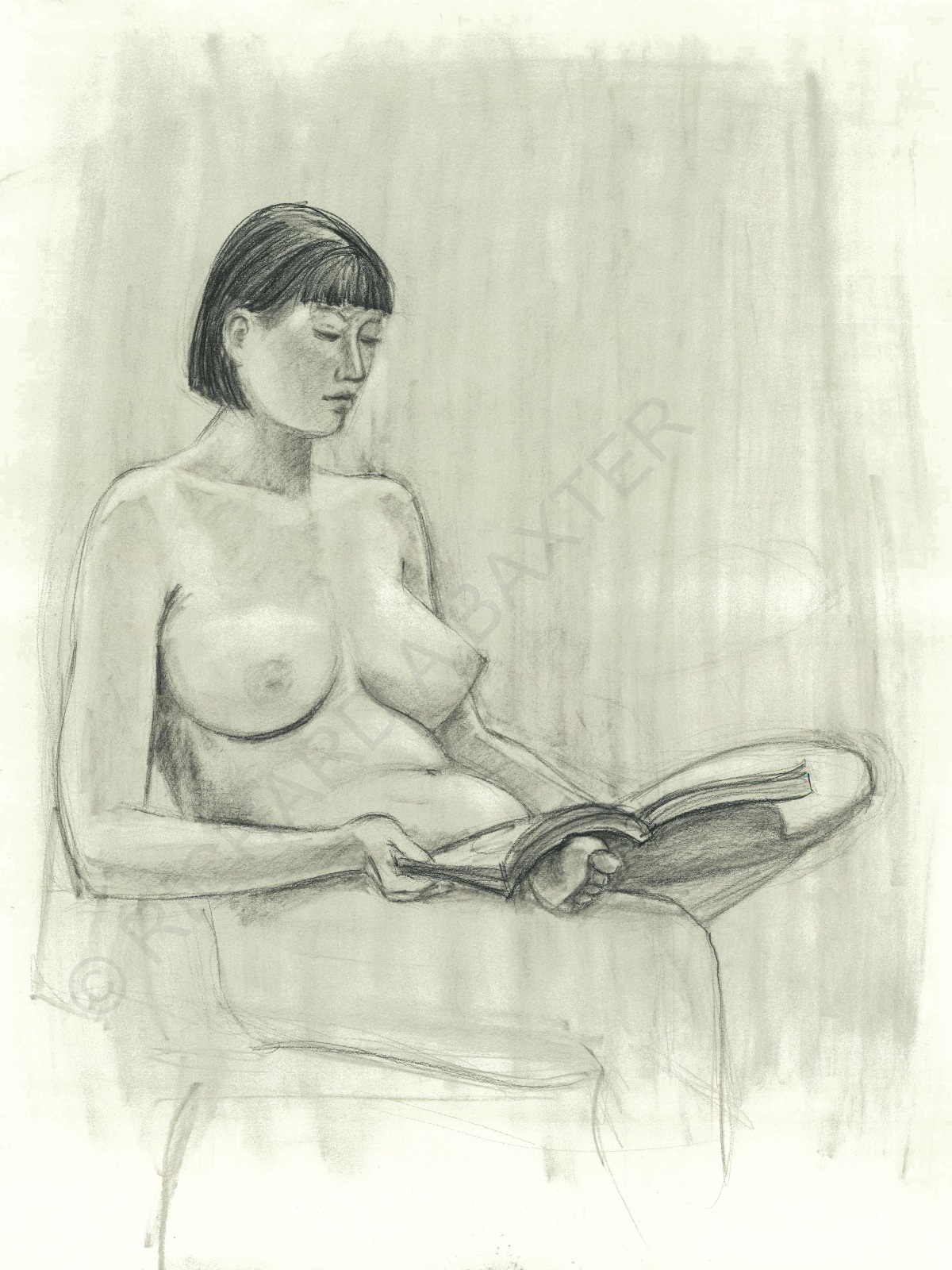 Drawing of seated figure by Dr. Baxter