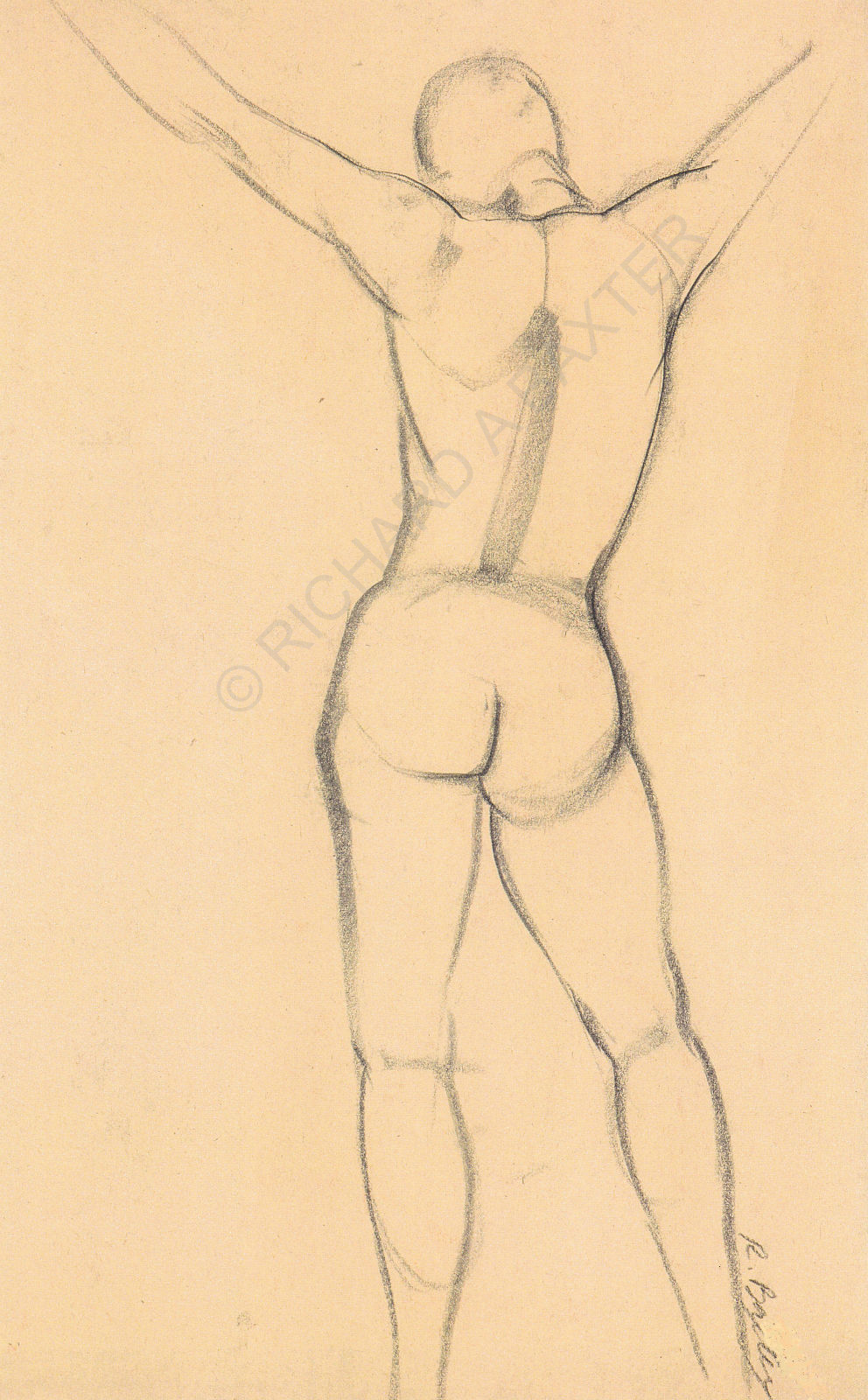 Drawing of standing figure by Dr. Baxter