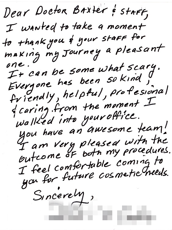 Thank you note to Dr. Baxter